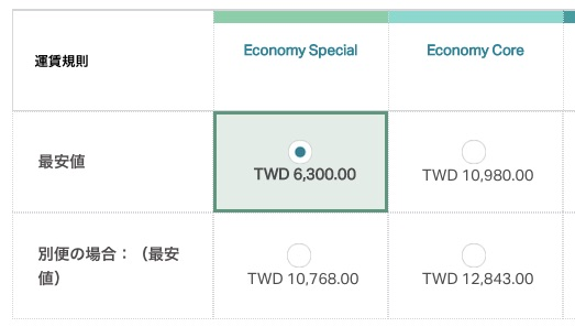 台北 〜 福岡の往復が6,300台湾ドル