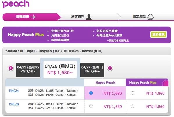 Peach:台北 → 大阪が片道1,680台湾ドル