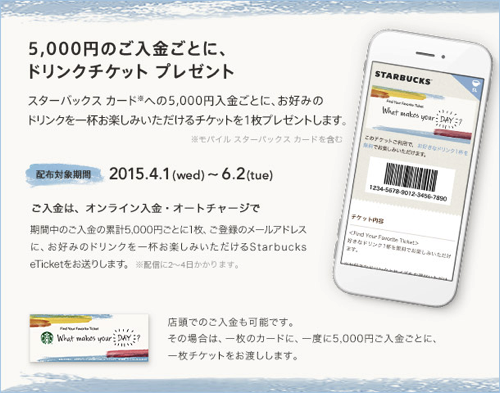 スターバックス:スターバックスカード5,000円入金でドリンクチケット1枚プレゼント