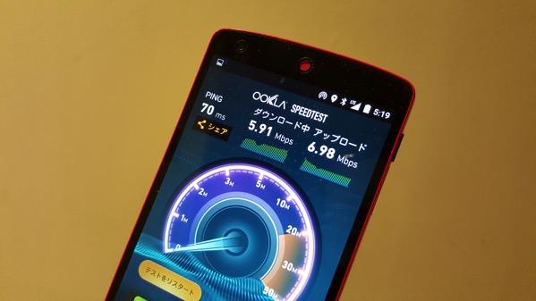 スピードテスト結果は下り5.91Mbps/上り6.98Mbps