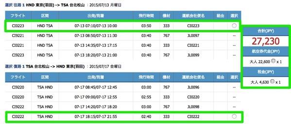 チャイナエアライン:東京(羽田) 〜 台北(松山)の往復航空券が総額27,000円