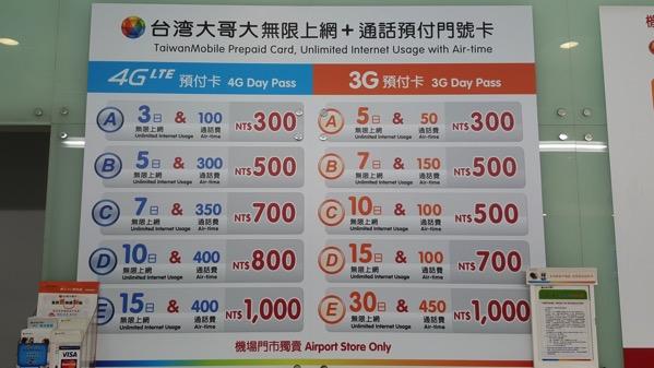 台灣大哥大の4G LTEプリペイドプラン(空港限定)