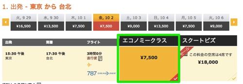 成田 → 台北が片道7,500円