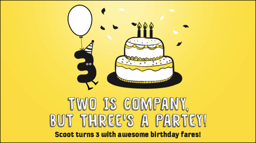 Scoot、就航3周年記念セール!成田 〜 台北が片道7,000円、関空 〜 バンコクが片道9,000円など