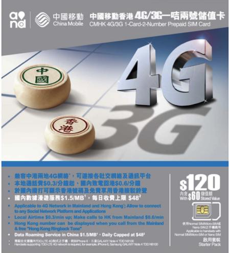 中国移動香港、中国大陸でのLTEローミングが安いプリペイドSIM発売
