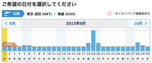 バニラエア:成田 〜 高雄の航空券一括検索