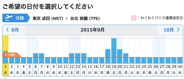 バニラエア:成田 → 台北線の一括検索結果