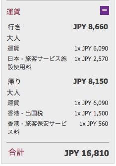 往復総額は約17,000円