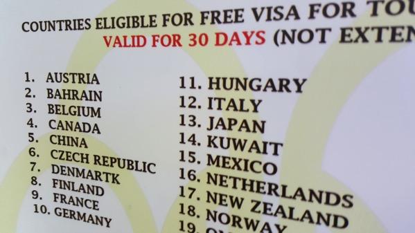ビザ免除対象となった国のリスト