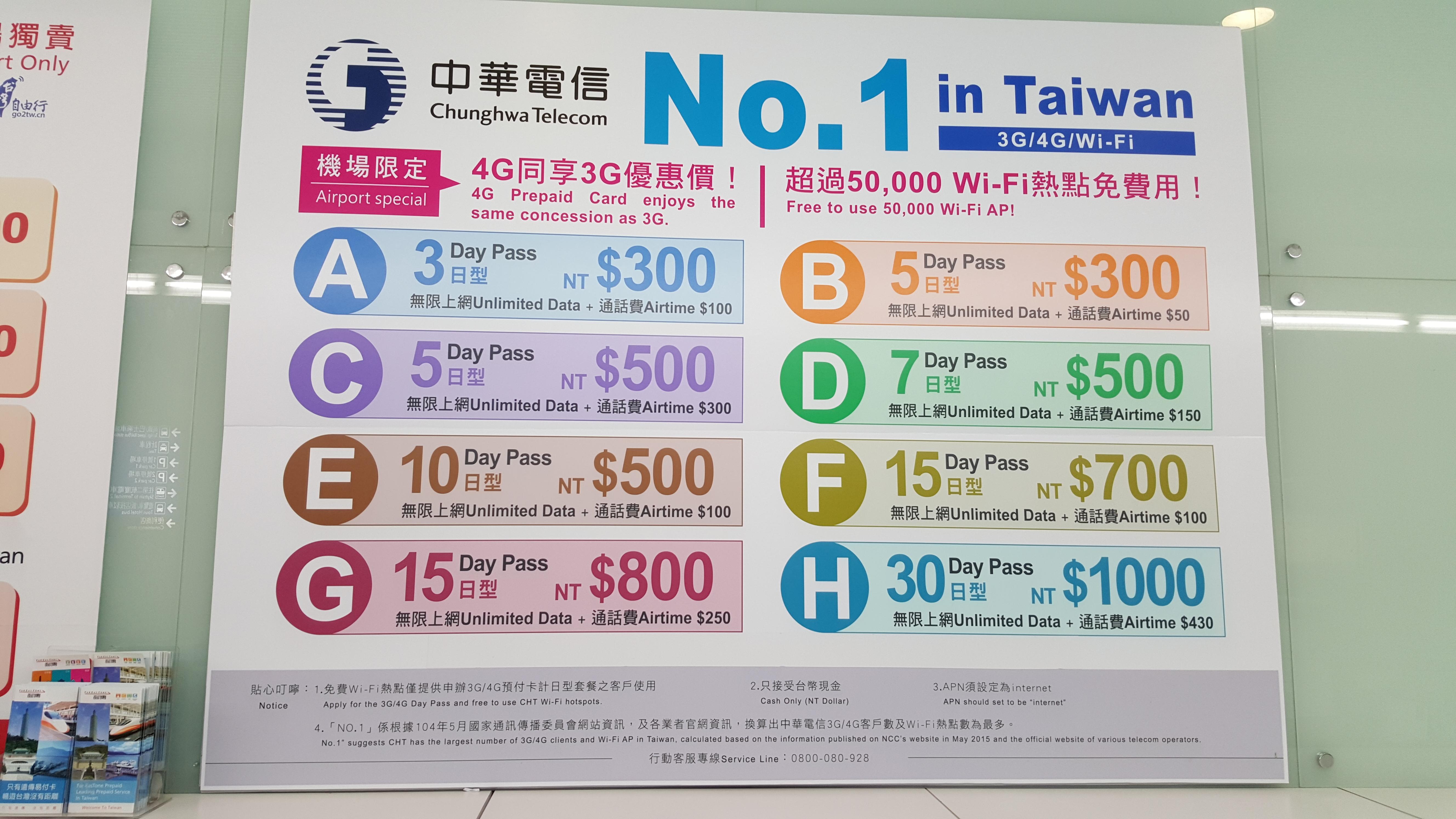 台湾:桃園空港で買える4G LTE対応プリペイドSIMのプランまとめ – 2015年9月分