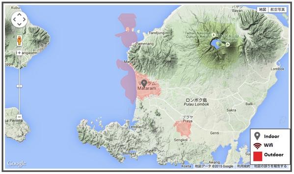 ロンボク島の4G LTEエリア