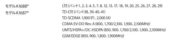 iPhone 6s/6s Plusの対応周波数