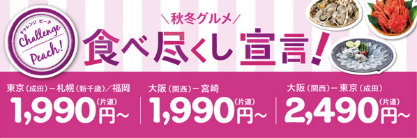 Peach:成田 〜 福岡&新千歳が1,990円、関空 〜 高雄が3,990円などのセール!搭乗期間は10月後半 〜 2月末