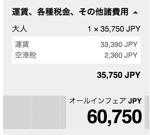 タイ・エアアジアXの直行便は総額60,000円