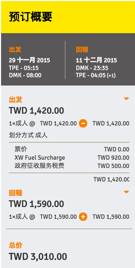 最低価格は往復で3,010台湾ドル
