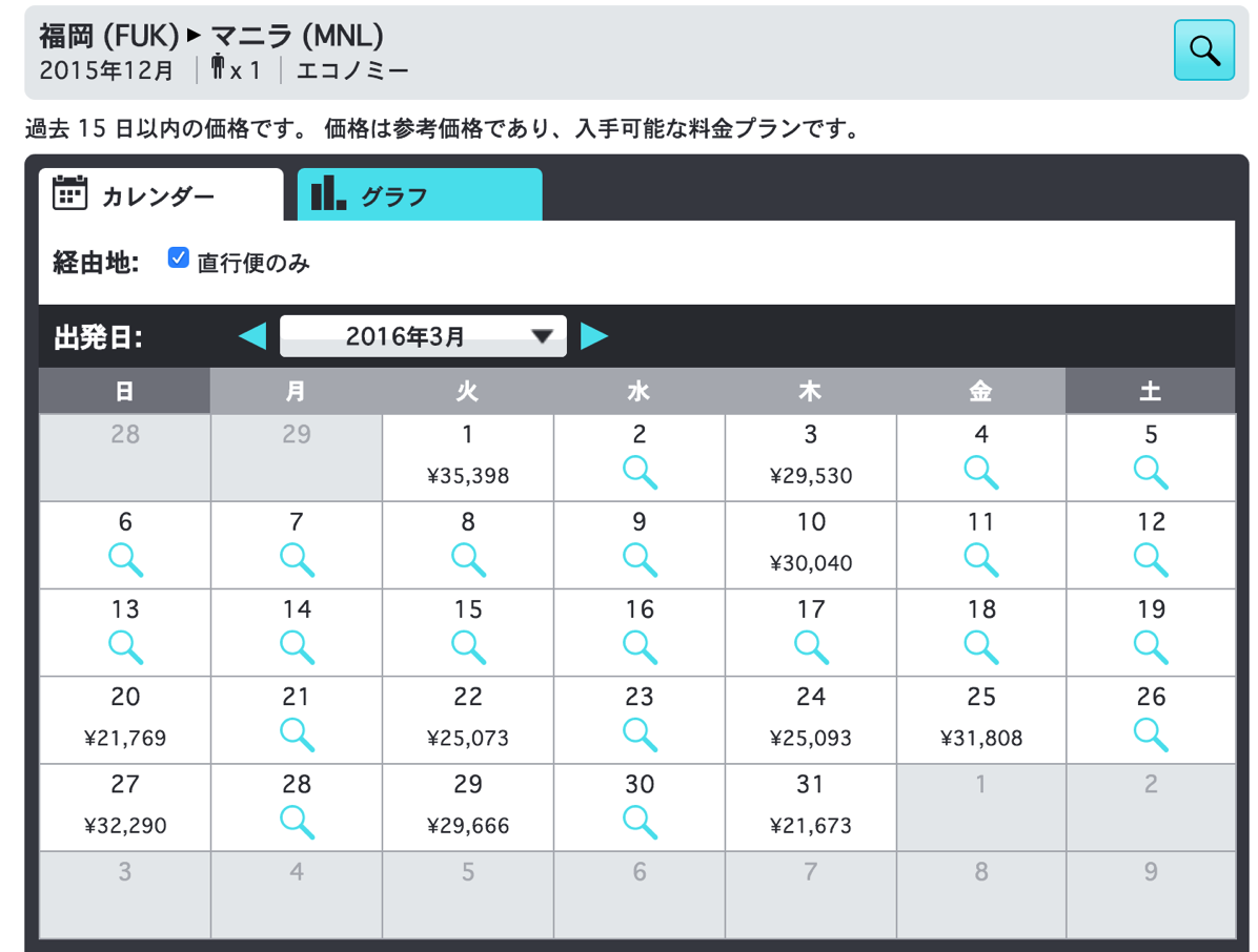 スカイスキャナー:福岡 - マニラの検索結果