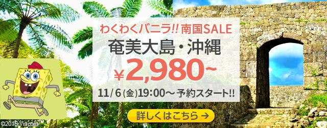 バニラエア:成田から沖縄が片道4,580円から、奄美大島が片道2,980円からのセール!12月-1月対象