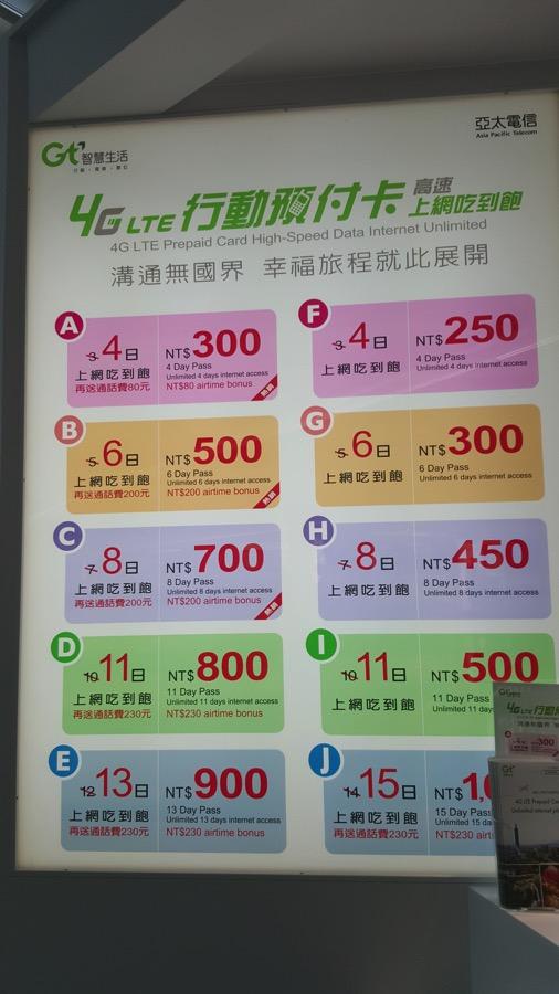 亞太電信:プリペイドSIMの料金プラン