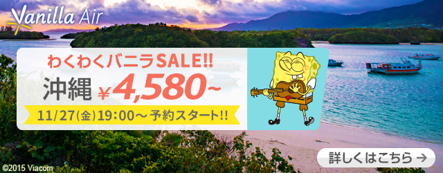 バニラエア:1月-2月の成田 – 沖縄が片道4,580円からのセール!