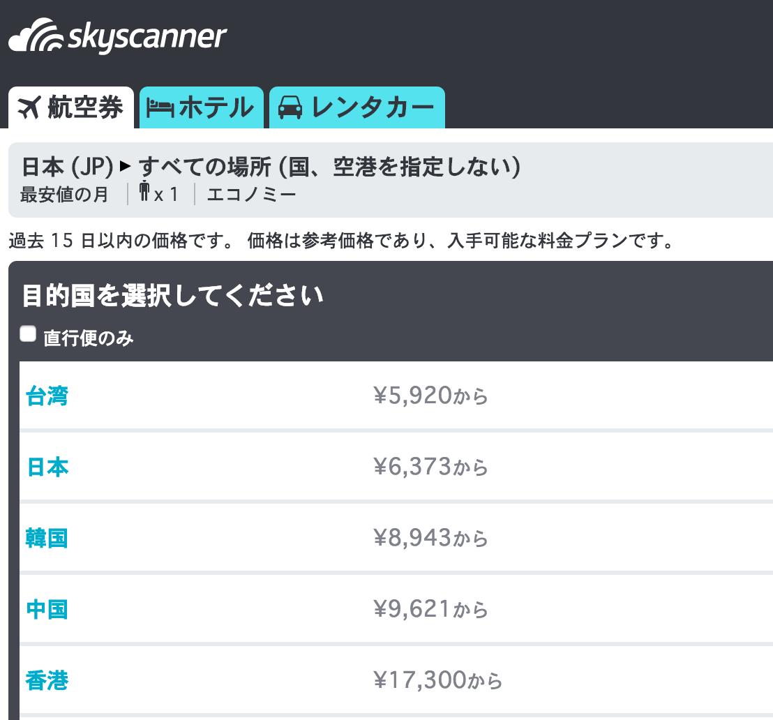 スカイスキャナー:日本からすべての場所、最安値の月