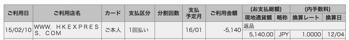 香港エクスプレス:空港使用料は手数料なしで返金可能