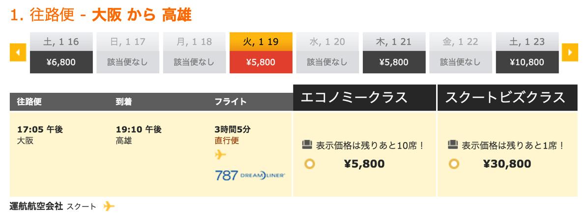 大阪 → 高雄は5,800円/片道