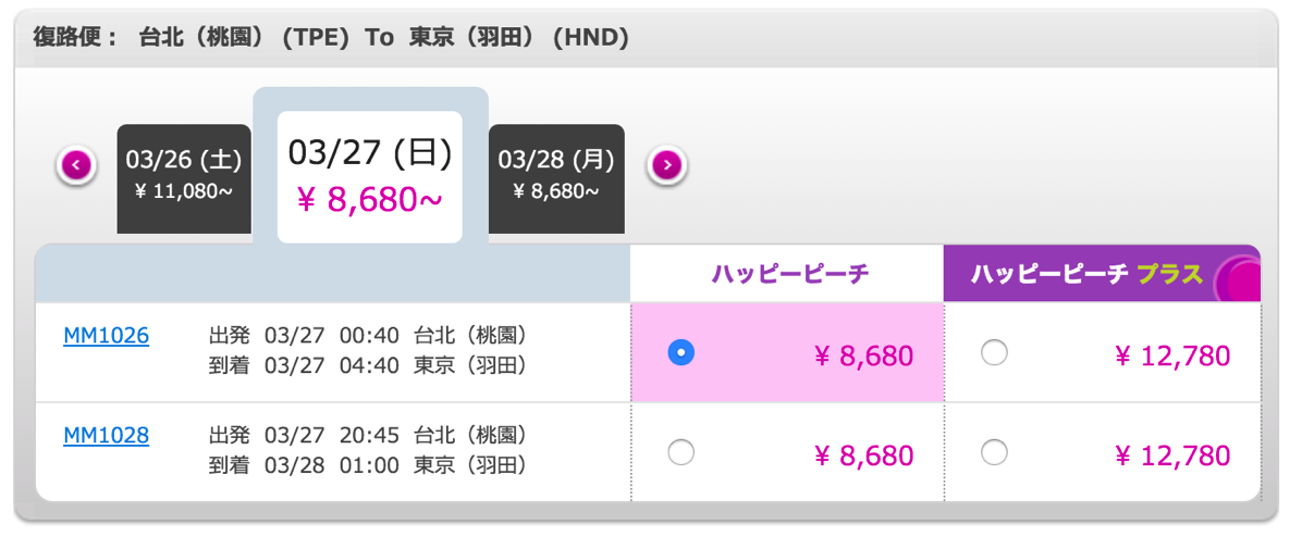 Peach、2016年夏ダイヤで羽田-台北便を時刻変更  – 台北を20:45出発、羽田深夜着に繰り上げ