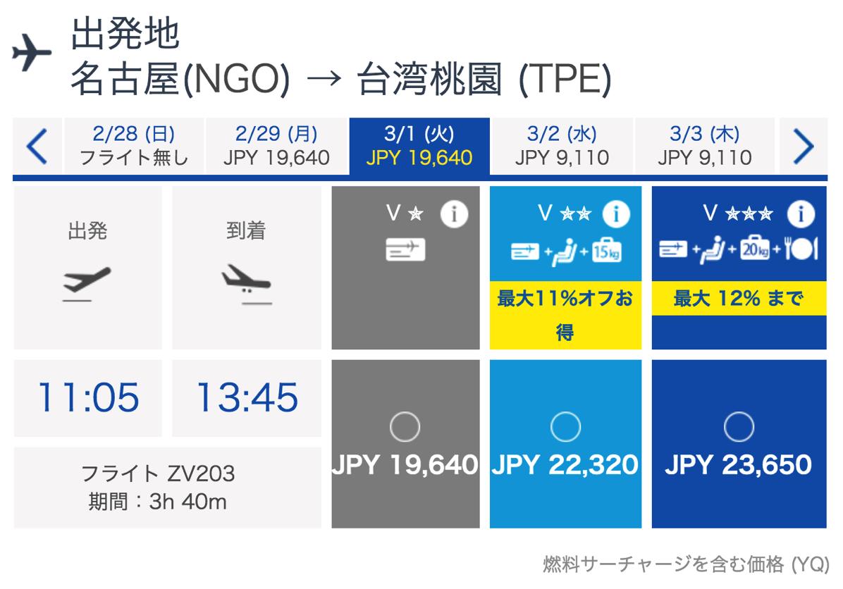 台湾LCC「Vエア」が名古屋 – 台北を増便!3月1日よりデイリー運航へ