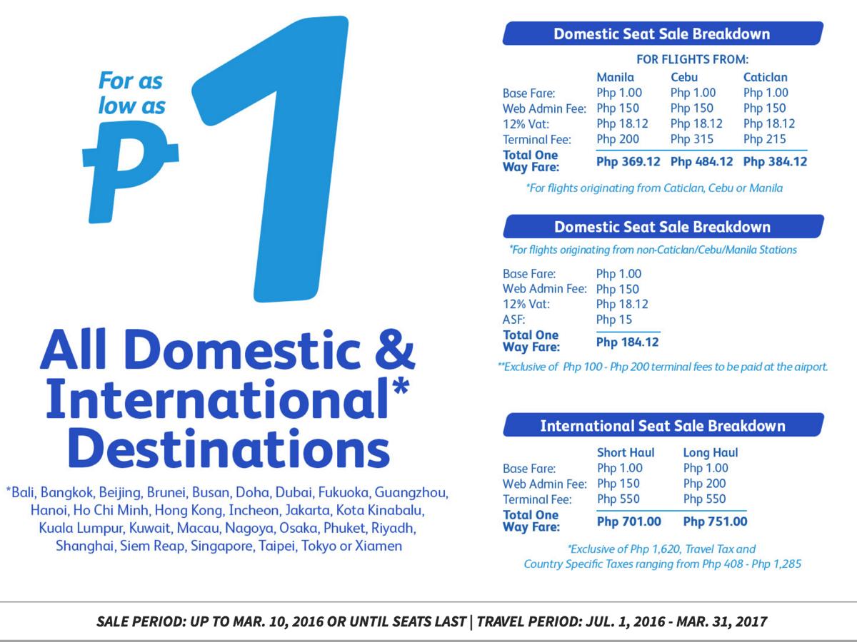 セブ・パシフィック航空:国内線&国際線の全線対象1ペソセール開催!日本発着路線も運賃1ペソ