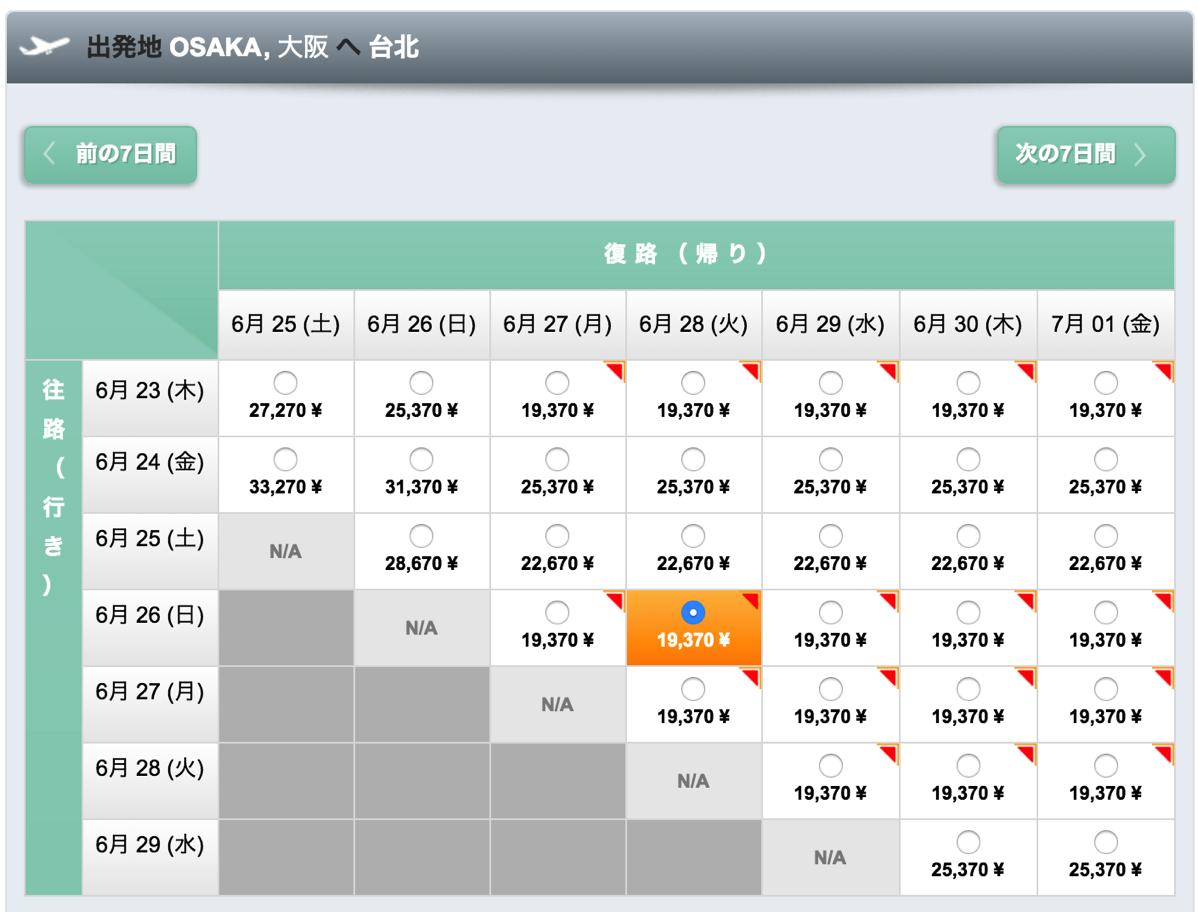 大阪 - 台北の支払総額は19,370円より