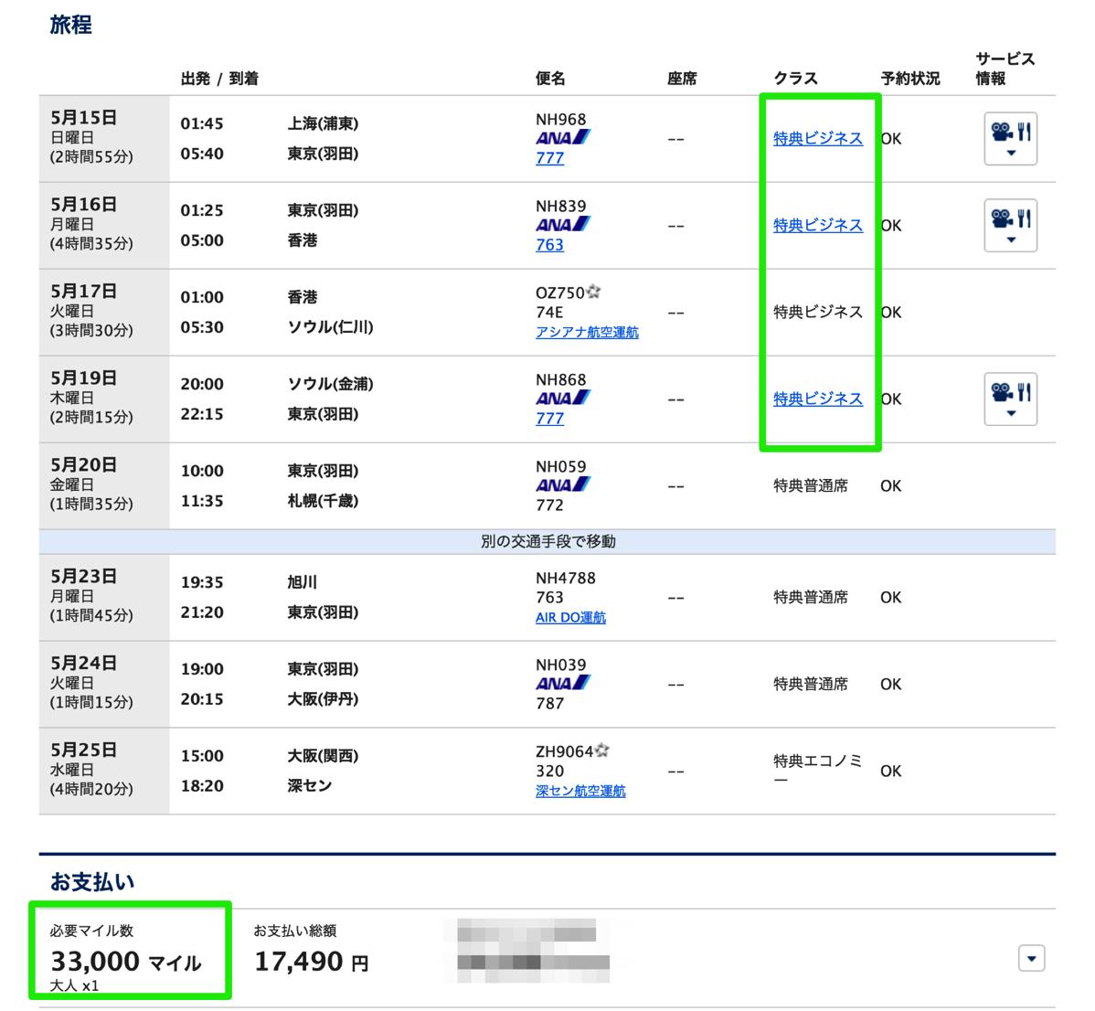 スターアライアンス特典航空券:ビジネスクラス4区間を「片道分」ANAマイルと交換する方法