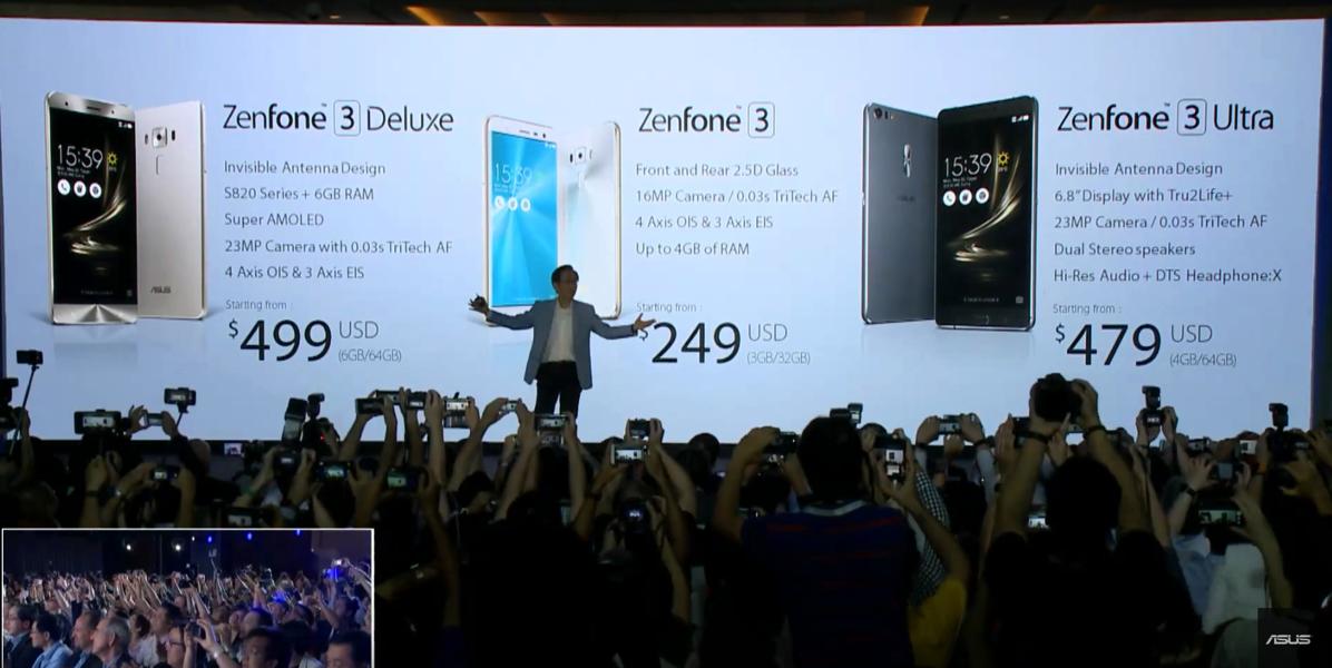 ZenFone 3・ZenFone 3 Deluxe・ZenFone 3 Ultraが発表