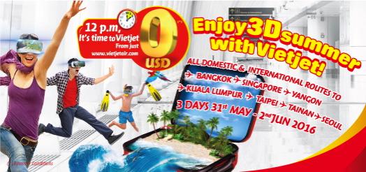 ベトジェットエア:国内線&国際線の全線が無料になる2時間限定セール!5月31日より3日間限定開催