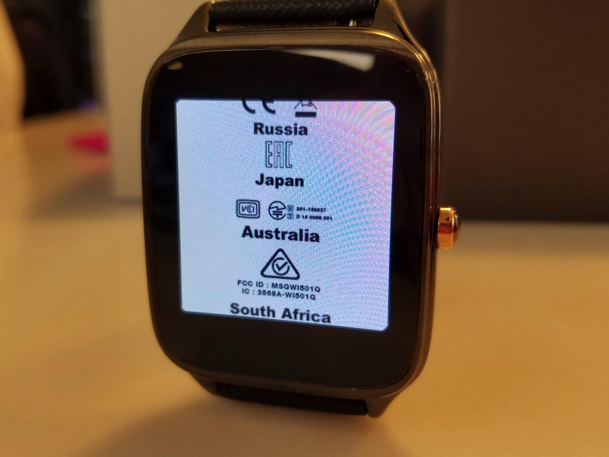 ZenWatch 2(台湾モデル)で技適マーク表示ok