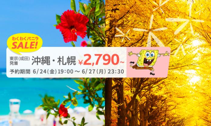 バニラエア:成田-札幌が片道2,790円、成田-那覇が片道2,990円のセール!一部路線対象に先行セールも販売中
