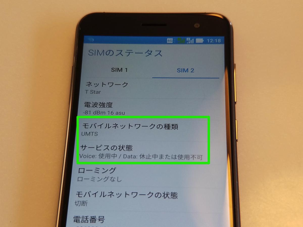 SIMカード2のステータス:台湾之星(T-STAR)で3G音声通話が有効