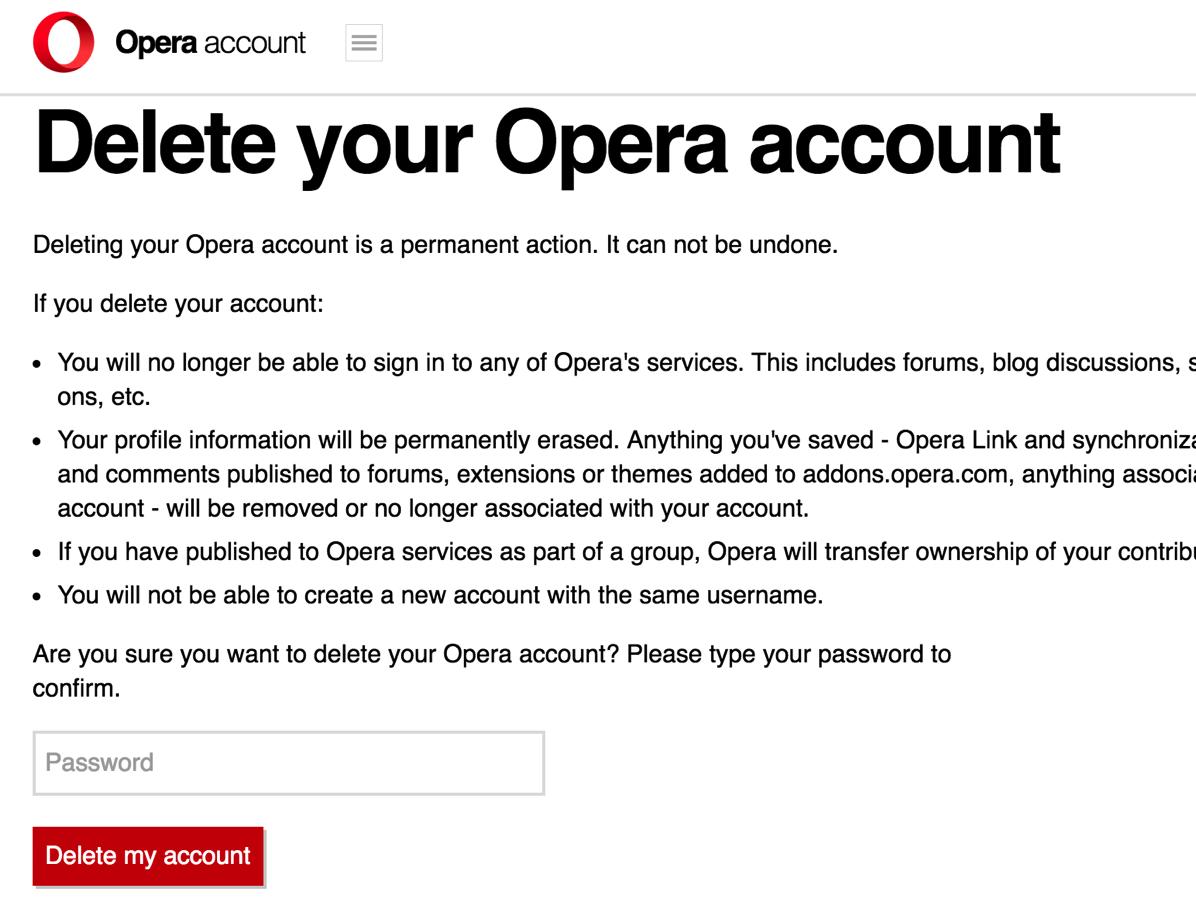 Operaアカウントの削除