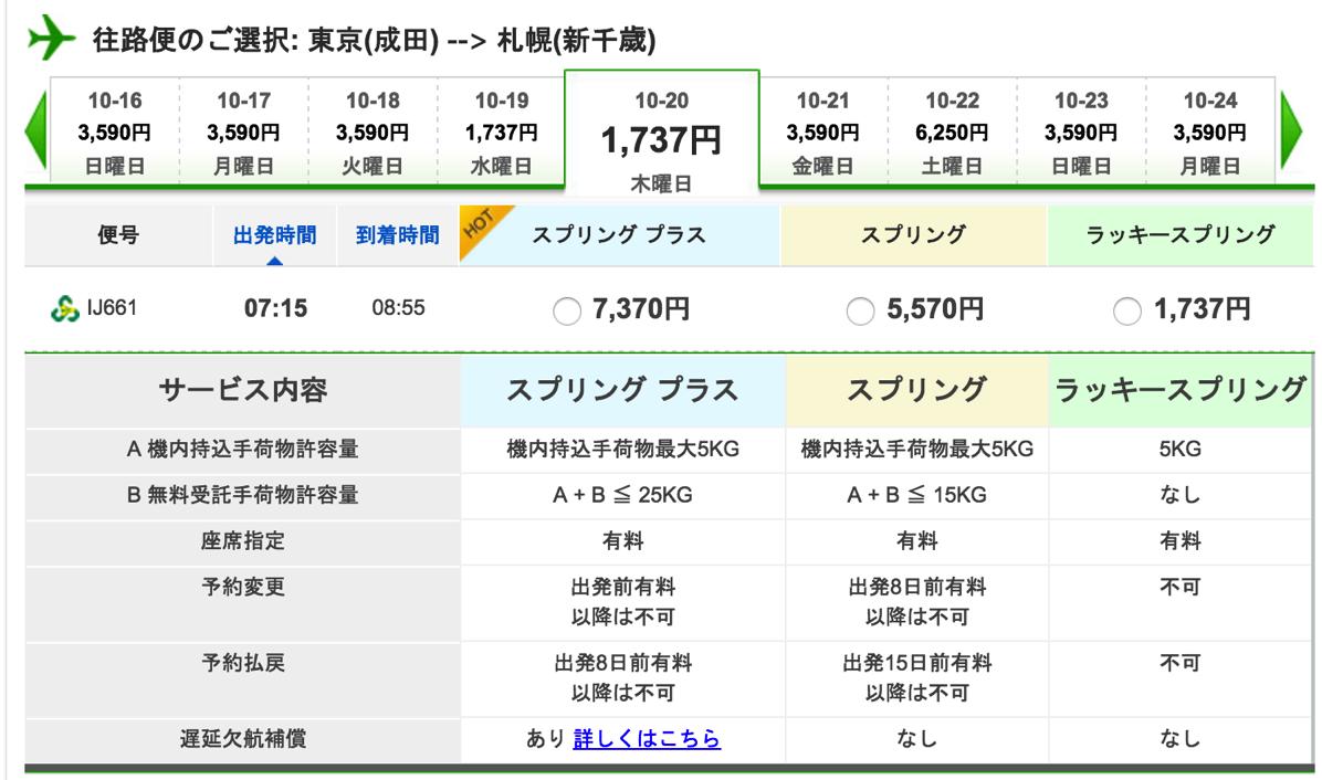 成田→新千歳が片道1,737円