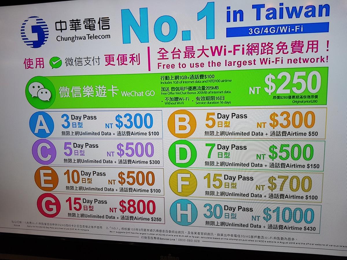 高雄空港で買える中華電信プリペイドSIMカードのプラン title=