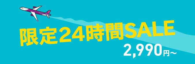 Peach、羽田・関西・那覇発着国際線が対象の24時間限定セール!片道2,990円より