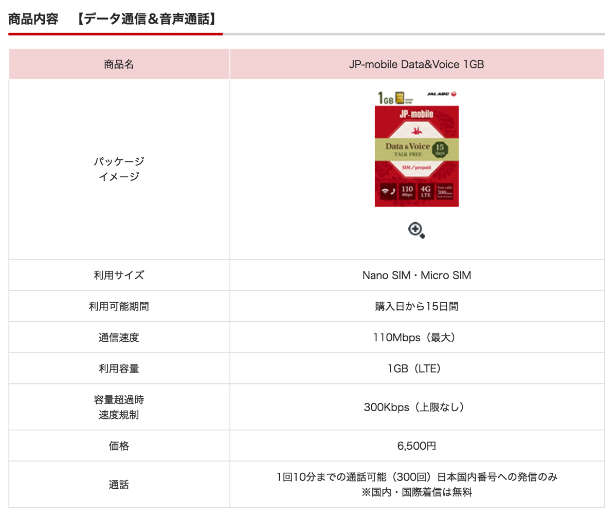 JAL ABCカウンターで「JP-mobile Data&Voice 1GB」を取扱い
