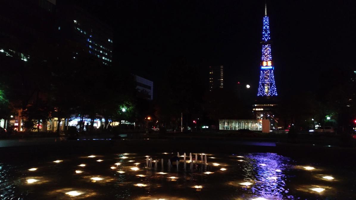 夜の大通公園・さっぽろテレビ塔を撮影