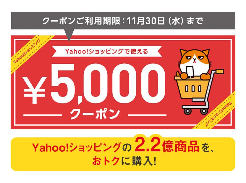 ヤフーショッピングで使える5,000円分クーポンを配布