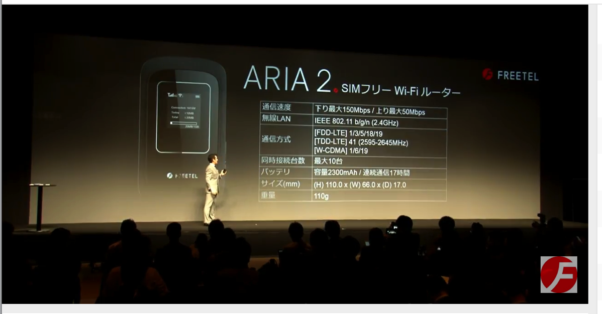 FREETEL、連続通信時間17時間・WiMAX 2+動作確認済みモバイルWi-Fiルータ「ARIA 2」を発表、税別11,800円で12月2日(金)発売