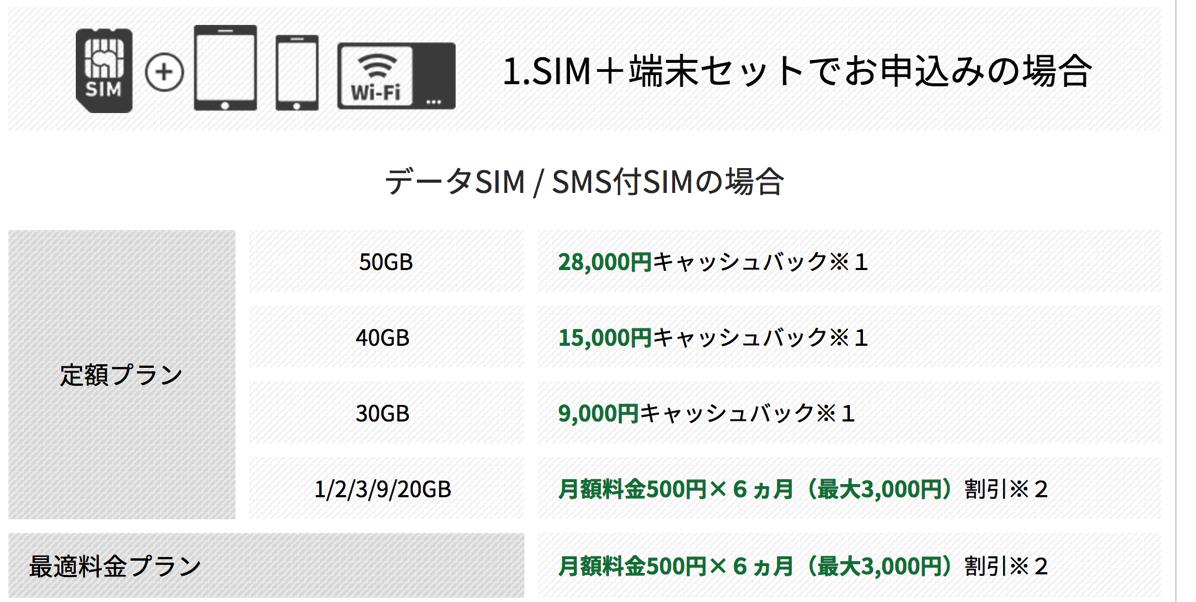 端末 + SIMカードセットの特典