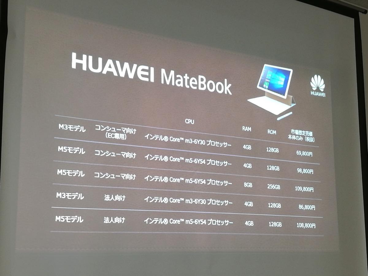 MateBookのラインナップ:最安モデルは69,800円より