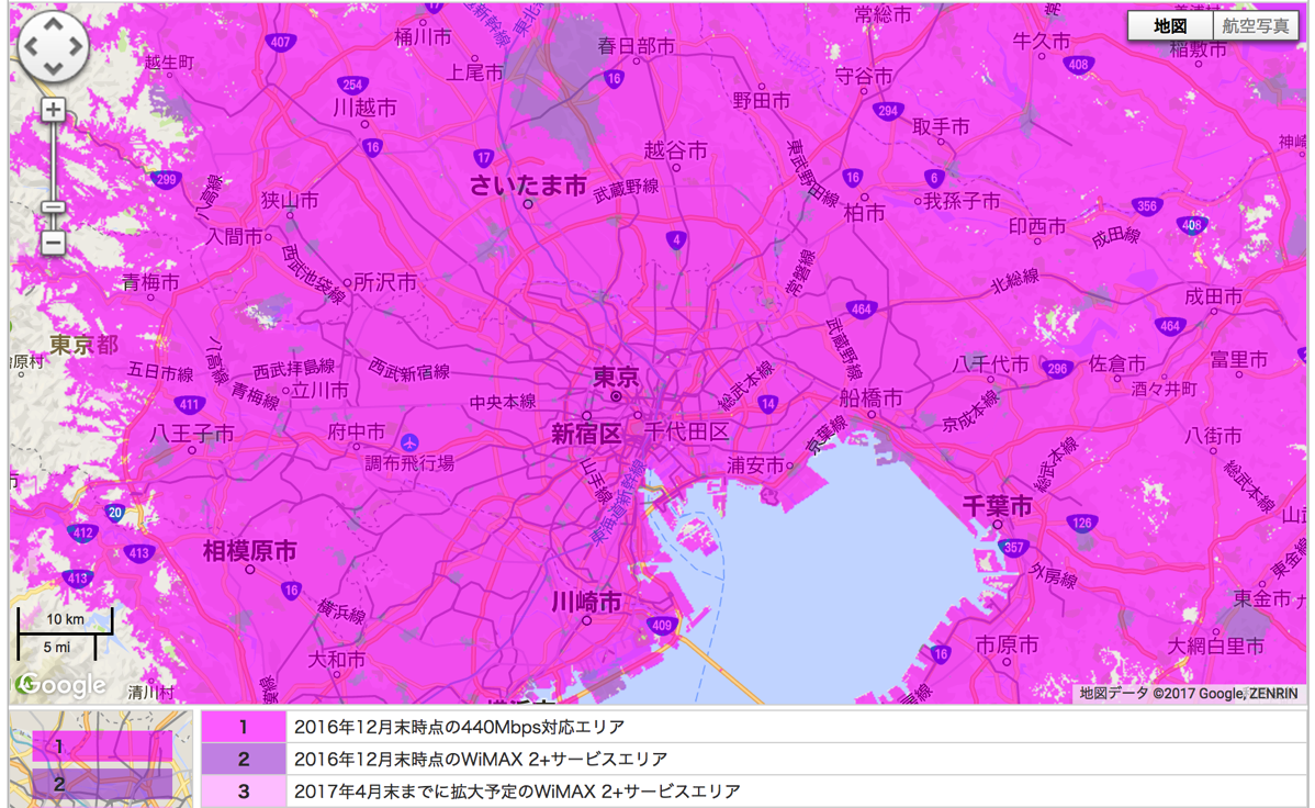 WiMAX 2+対応エリア(東京)