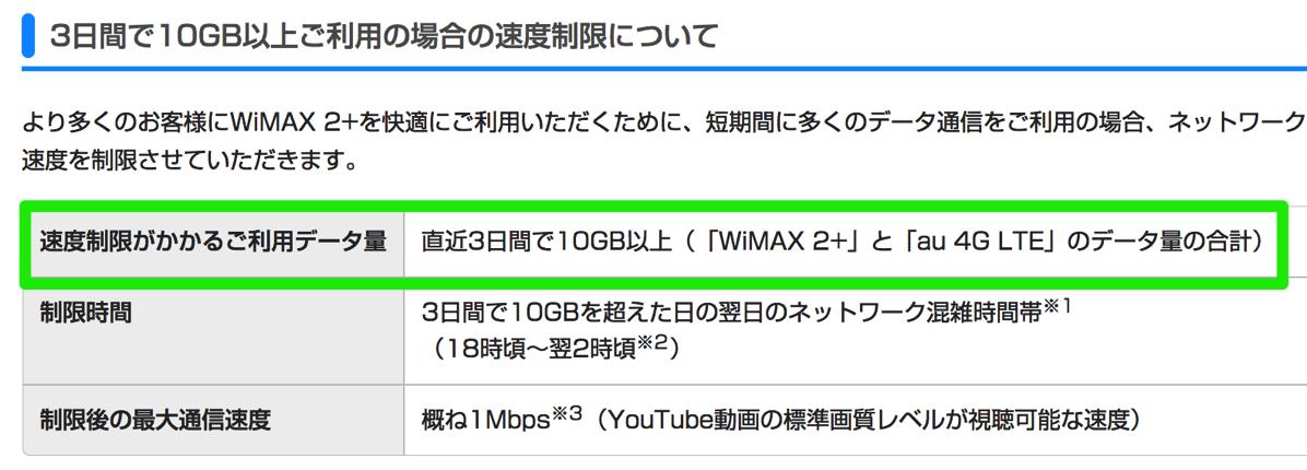 WiMAX 2+:通信速度制限が「3日10GB越えで夜だけ1Mbps」に