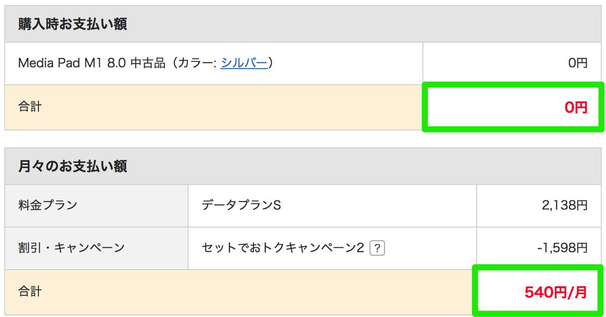 MediaPad M1 8.0が一括0円、月額500円