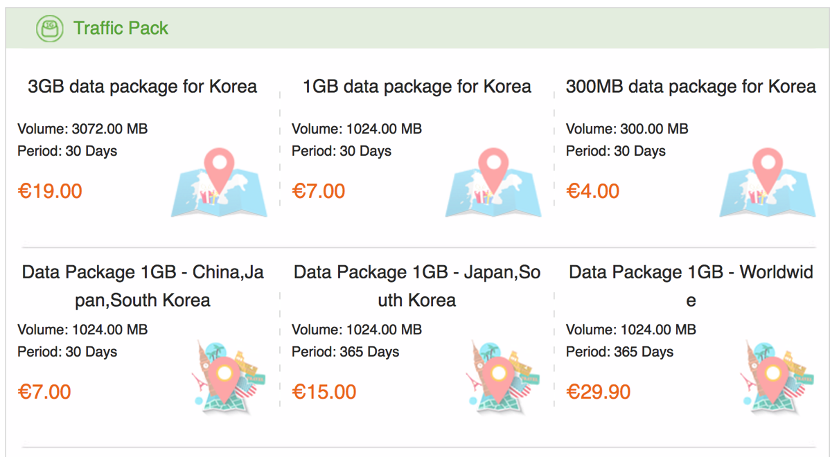 GlocalMe:韓国向けパッケージ